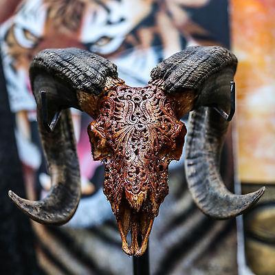 REAL HAND CARVED RAM SKULL &HORNS Taxidermy buffalo longhorns steer bull Animal