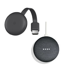 NEW Google Smart TV Kit Google Home Mini Charcoal + Chromecast 3rd Gen Streamer