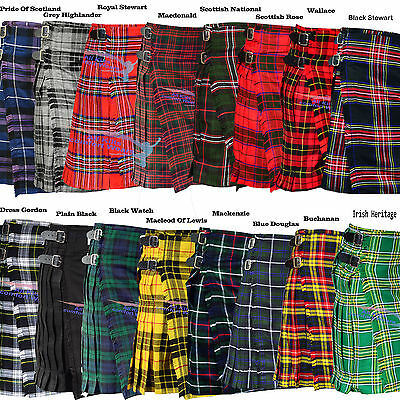 New Men's 5 Yard Scottish Kilts Tartan Kilt 13oz Highland Casual Kilt 6 Tartans