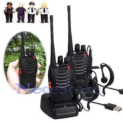 Set 2 x Baofeng Hand-Funkgerät Walkie Talkie BF-888S UHF/VHF Amateurfunk+Headset