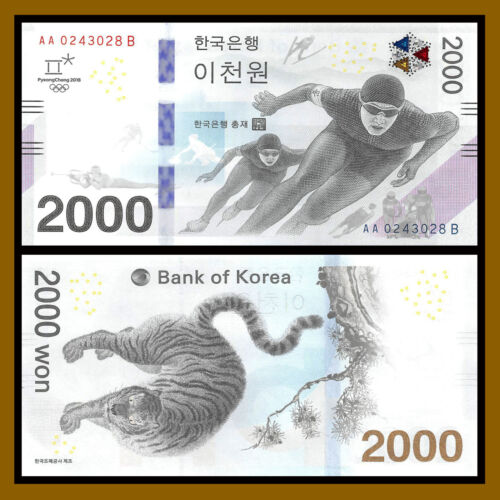 South Korea 2000 (2,000) Won, 2018 P-New Winter Olympics Tiger Uncirculated Unc