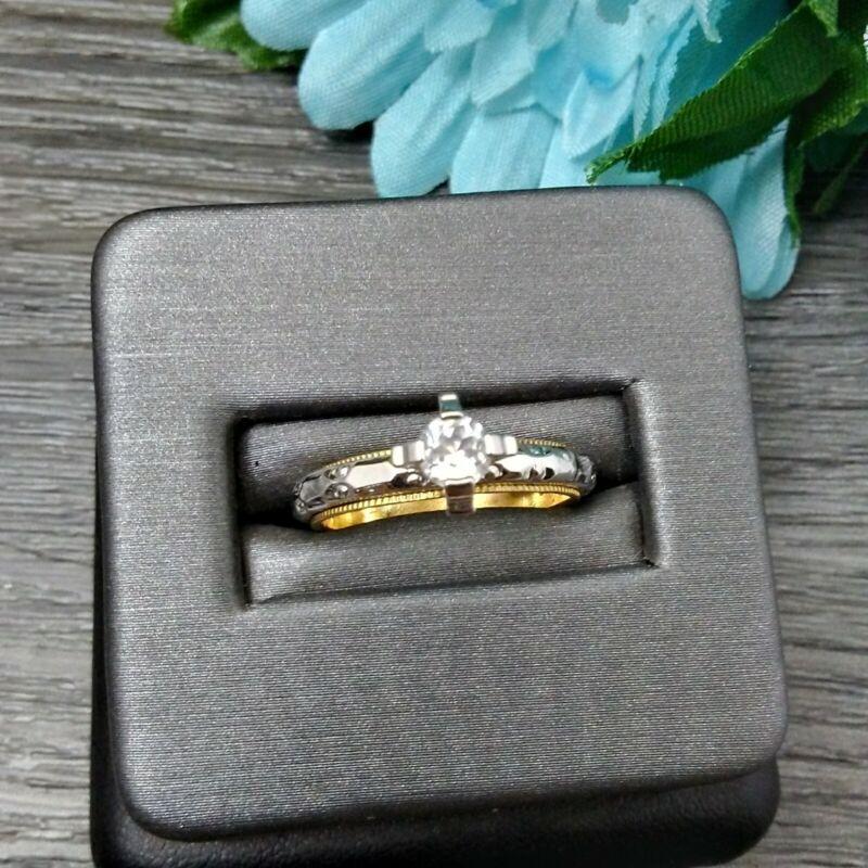 MAMAS ESTATE VINTAGE STERLING SILVER & 10K GOLD FILLED RING SIZE 6 #U5-26