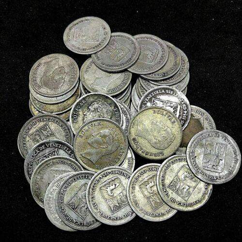 Venezuela- Lot Of 40: 25 Centimos (1945-1954) Circulated Coins  0.835 Silver.