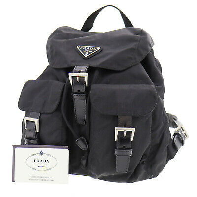 PRADA Logos Backpack Bag Black Nylon Leather Italy Vintage Authentic #SS927 S
