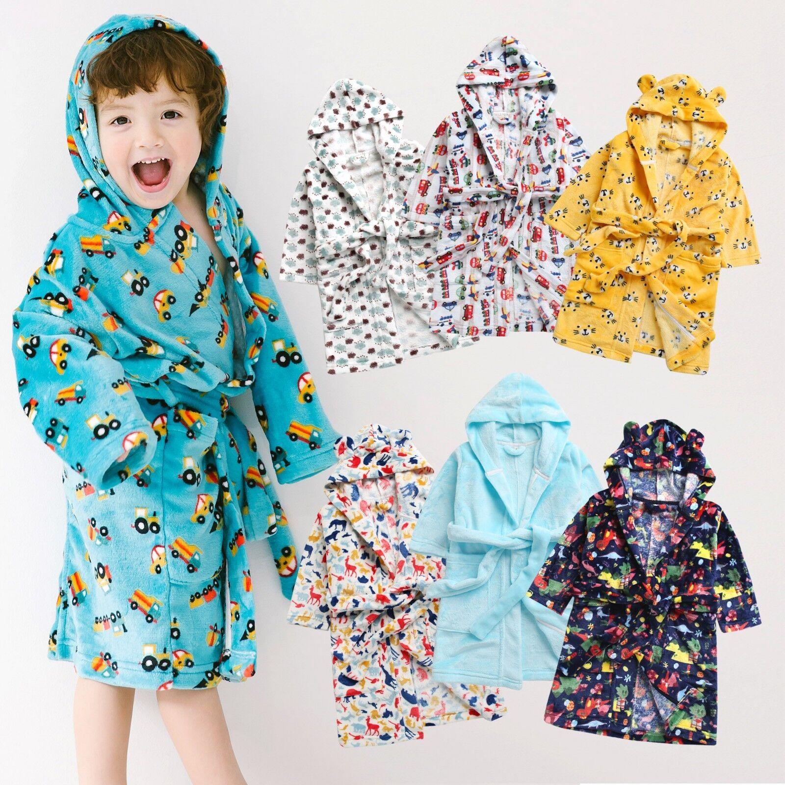 Vaenait Baby Kids Soft Plush Hooded Bathrobes Dressing Gowns