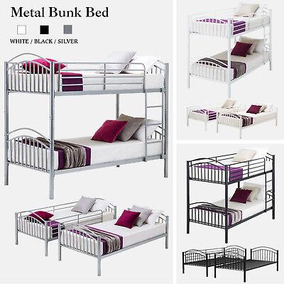 Twin over Twin Metal Bunk Bed Frame w/Ladder Children Kid Teen Bedroom Furniture