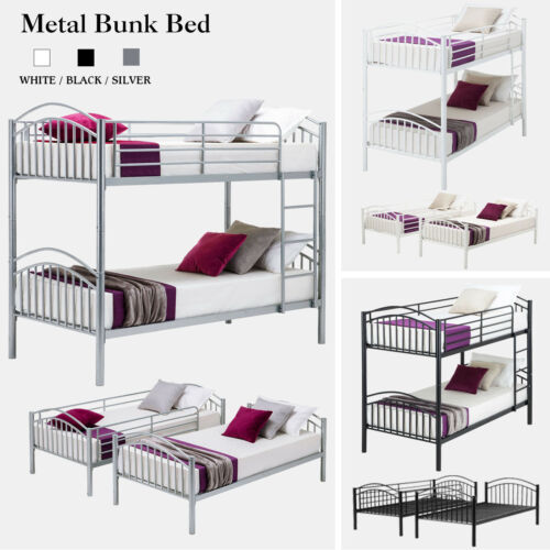 Twin over Twin Metal Bunk Bed Frame w/Ladder Children Kid Te
