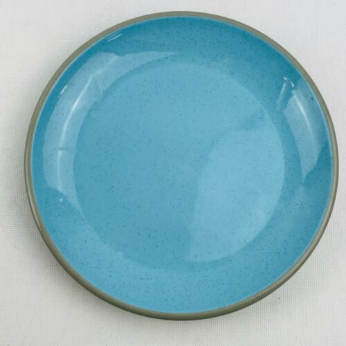 """Vintage Harkerware Stone China Blue Speckle Salad Plate 7.75"""" Luncheon Gray Trim"""