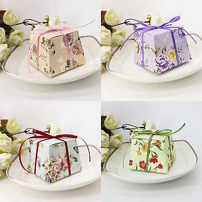 50X Wedding Favors SuppliesTrapezoid Floral Candy Boxes Gift Box With Ribbons C