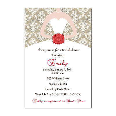 30 Dress Invitations For Bridal Wedding Shower Damask Vintage Gold And Red A1