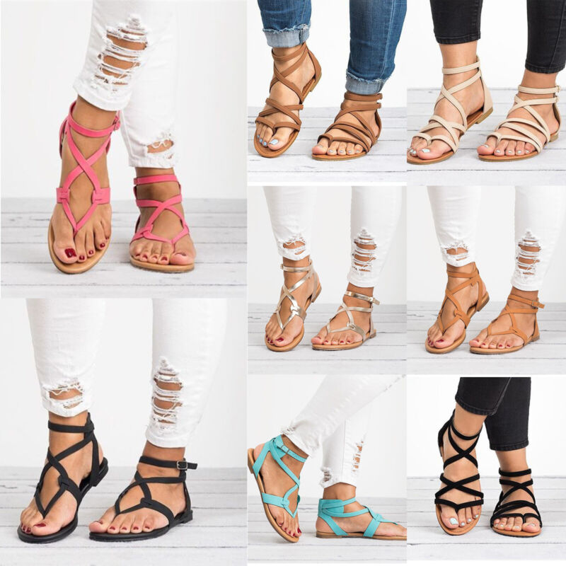 Ladies Womens Flat Sandals Summer Casual Holiday Strappy Fli