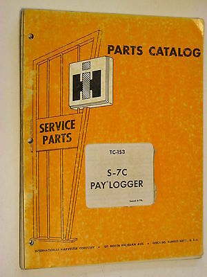 Ih International S-7c Grapple Log Skidder Parts Catalog Manual