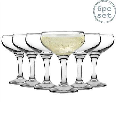 Glass Champagne Glasses Saucers 200ml 1920s Retro Gatsby Art Deco Coupe x6