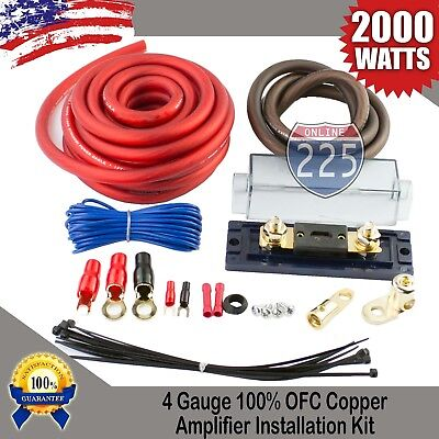 4 GAUGE AWG 100% OFC COPPER POWER AMP KIT AMPLIFIER WIRING INSTALL 2000 WATTS US 4 Awg Power Amplifier