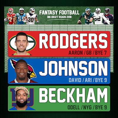 Big Fantasy Football Draft Kit 2018   Big 5X3 Draft Board   Big 4  Player Labels