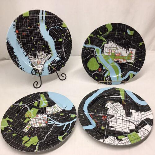 NotNeutral City Map Dinner Plates For B.wein.stein NYC WashDC NOLA Melbourne Set - $149.99