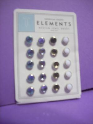 American Crafts Elements ~ MEDIUM JEWEL BRADS BABY BOY ~ Blues, White-20 count,  - American Crafts Elements Brads
