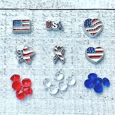Floating Charm USA Patriotic Military Flag Heart Ribbon for Glass Origami Locket ()