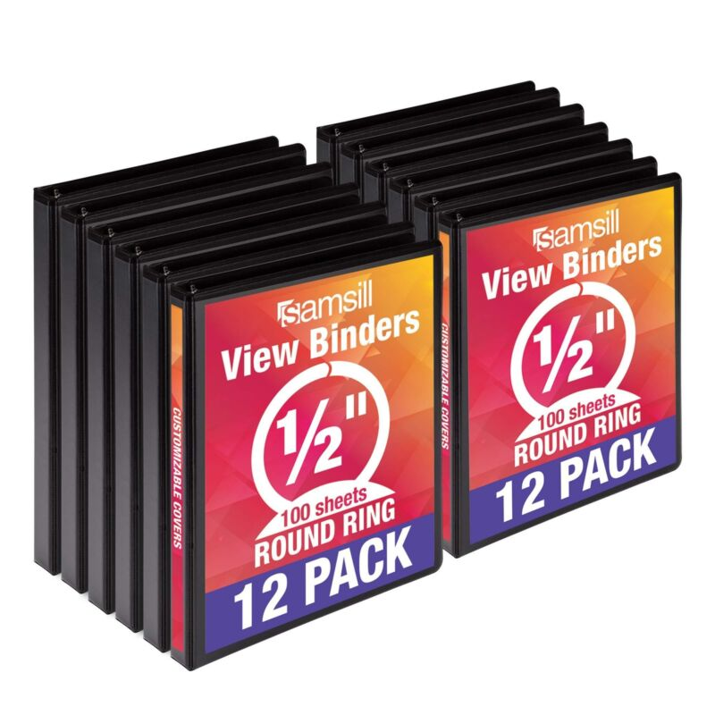 Samsill Economy 3 Ring View Binders, .5 Inch Round Ring, Customizable Clear View