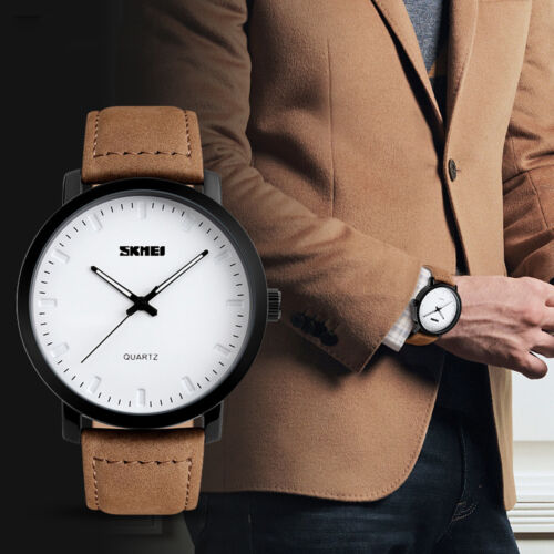 $13.49 - Luxury Men's Leather Army Sport Military Waterproof Analog Quartz Wrist Watch