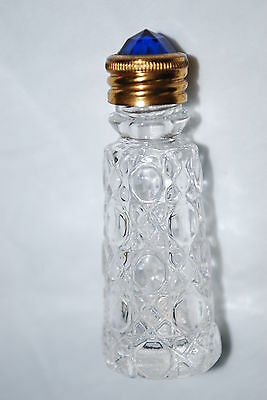 ANTIQUE IRICE CZECH MINI CUT CRYSTAL PERFUME BOTTLE WITH JEWELRY STOPPER