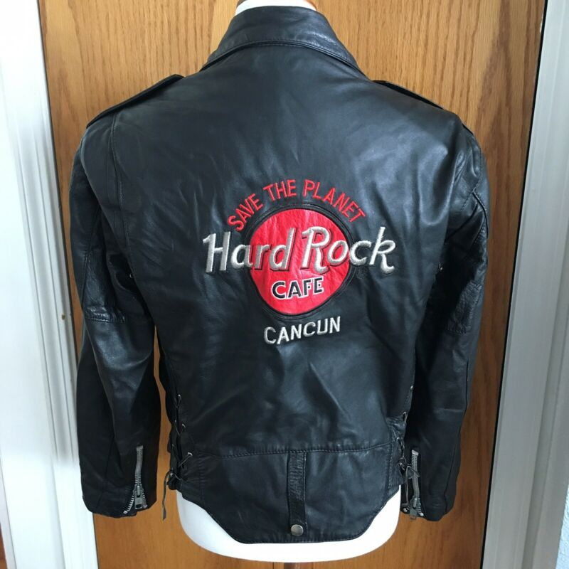 Vintage Hard Rock Cafe Leather Motorcyle Biker Jacket Cancun Leather S