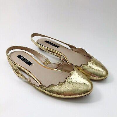 ZARA BASIC CO.  Women's 37 Crackeld Gold Scalloped Sling Back Flats Shoes
