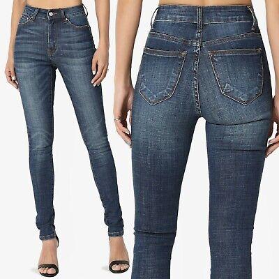 TheMogan Basic 5 Pocket High Waist Dark Blue Washed Stretch Denim Skinny - Blues Basic 5 Pocket Jeans