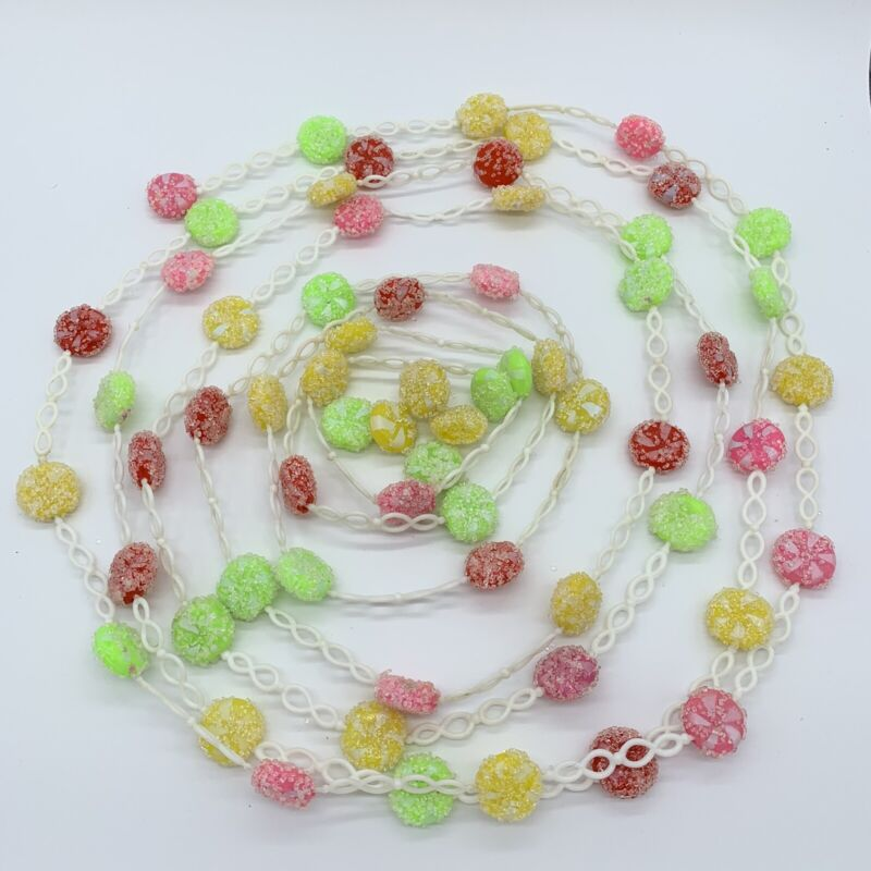 Vintage Plastic Christmas Tree Garland Sugared Candy With White Chain 17 Feet