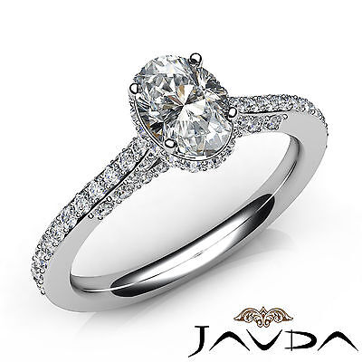 Oval Diamond Facinating Engagement Pave Set Ring GIA E VS1 18k White Gold 1.15Ct
