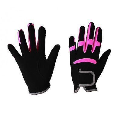 QHP Kinder Reithandschuhe Multi Color Stretcheinsätze (Kind Schwarz Handschuhe)