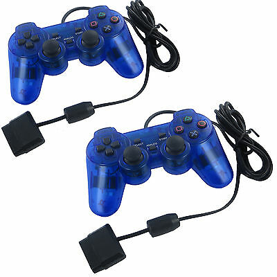 Playstation Game Pad Controller - 2X Blue Twin Shock Game Controller Joypad Pad for Sony PS2 Playstation 2