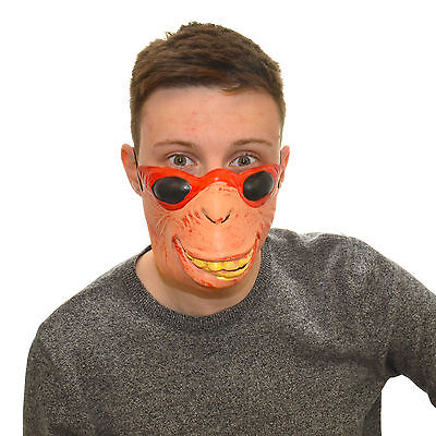 Half Face Goofy Monkey Funny Fancy Dress Latex Mask For Kids & Adults - Monkey Faces For Halloween