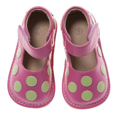 Discontinued Toddler Girl's Leather Squeaky Shoes Hot Pink with Lime Green Dots](Green Girls Shoes)