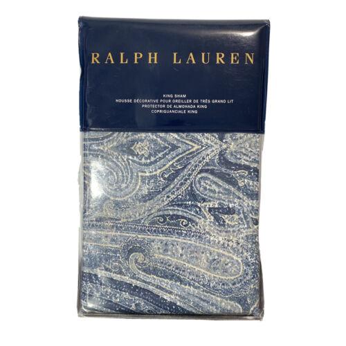 """Ralph Lauren Allister Paisley King Pillow Sham $130 NIP 20×36"""" Navy Blue White Bedding"""