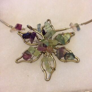 Rainbow fluorite chip and silver wired necklace  Largs Bay Port Adelaide Area Preview
