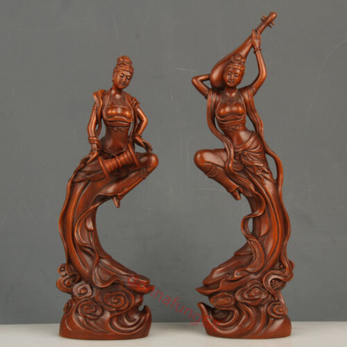 Decoration Chinese Exquisite Hand-carved beauty carving Boxwood statue