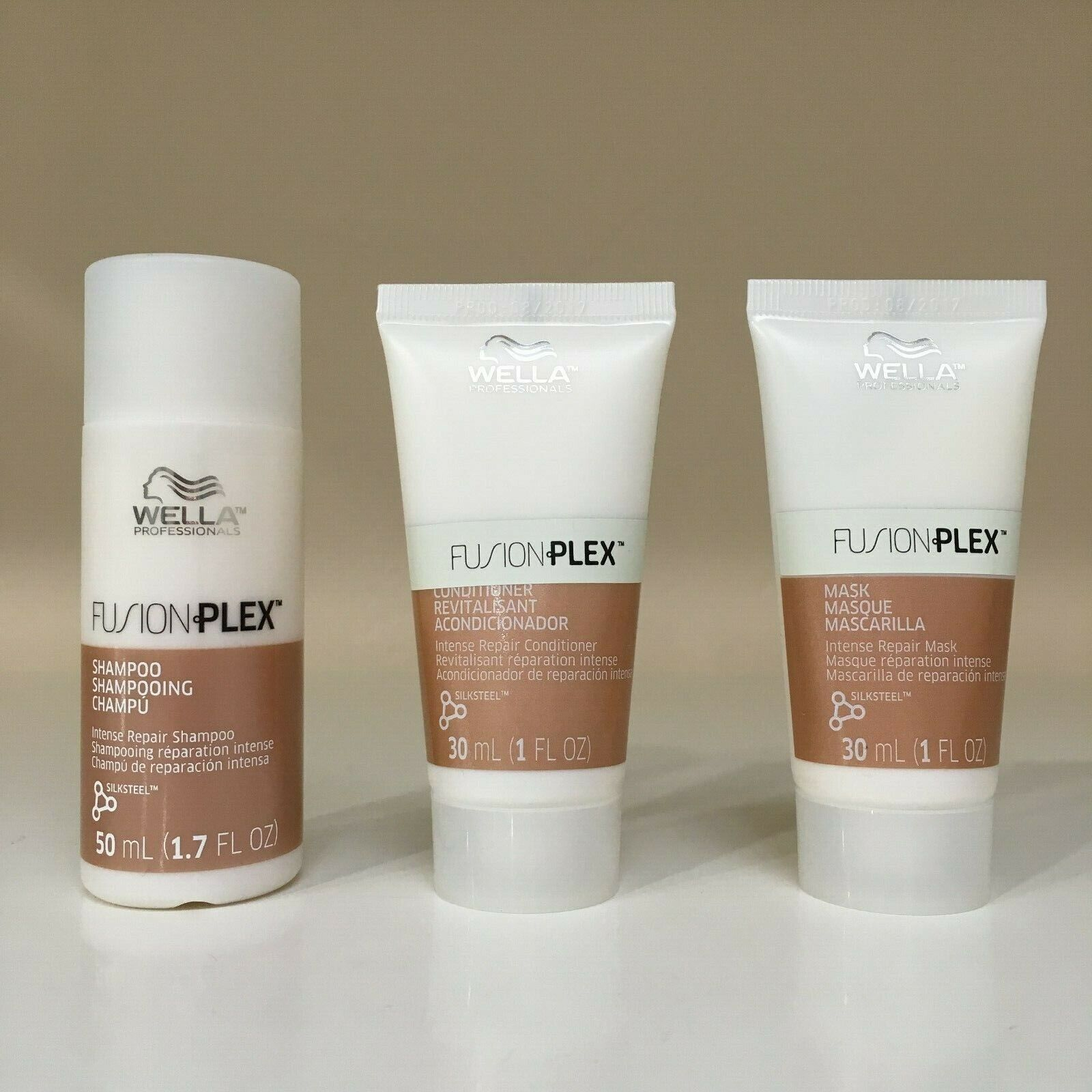 Wella FUSIONPLEX Shampoo, Conditioner, Mask Travel Size TRIO