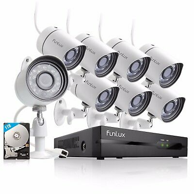 Funlux 1080p 8CH HDMI NVR  720p Outdoor Camera Home Security System 1TB HDD
