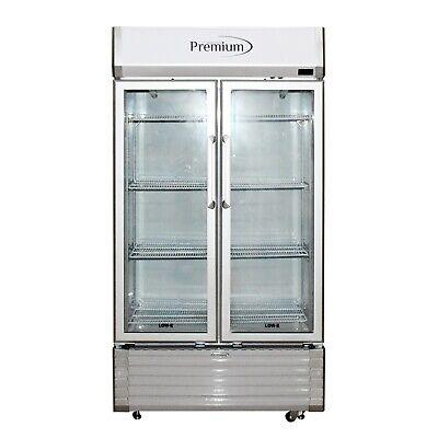 2 Glass Door Drink Display Merchandiser Refrigerator Cooler Premium Brand