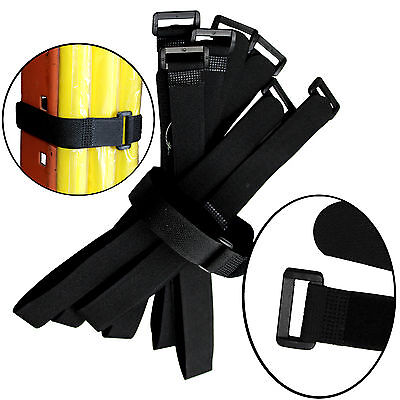 """30 Quantity Durable Hook and & Loop Reusable Cable Tie Down Straps Kit 20"""" by 1"""""""