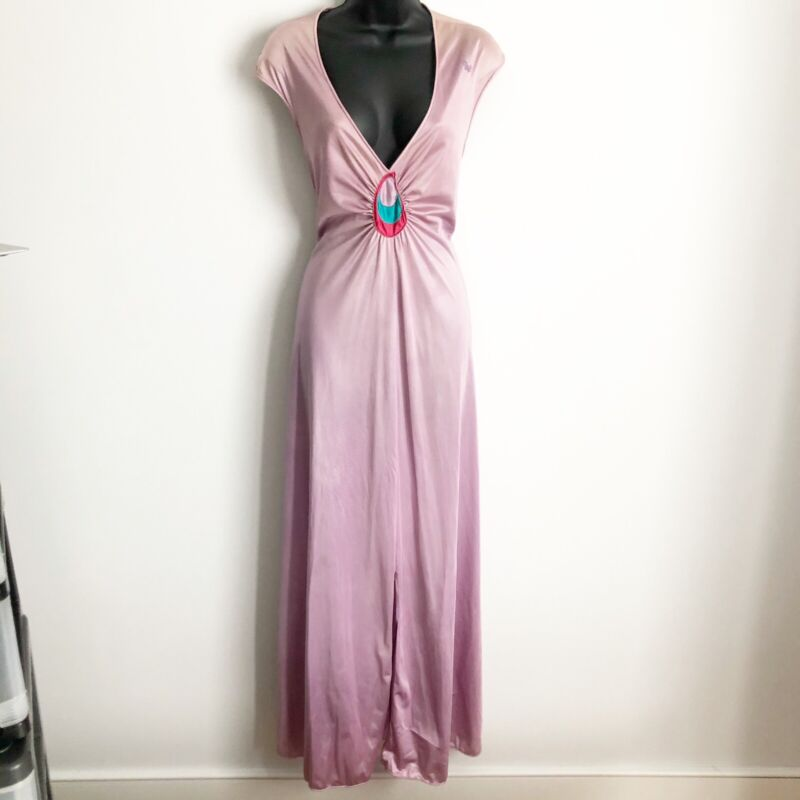 Vintage Diane Von Furstenberg DVF Long Nightgown Size Medium Nylon Purple