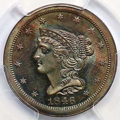 Click now to see the BUY IT NOW Price! 1846 2ND RESTRIKE R 6 PCGS PR 66 BN BRAIDED HAIR HALF CENT COIN 1/2C