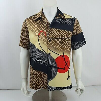 1970s Men's Shirt Styles – Vintage 70s Shirts for Guys Vintage 1970s Aloha SS Asian Red Full Moon Shirt by Tori Richard - Size S $44.99 AT vintagedancer.com