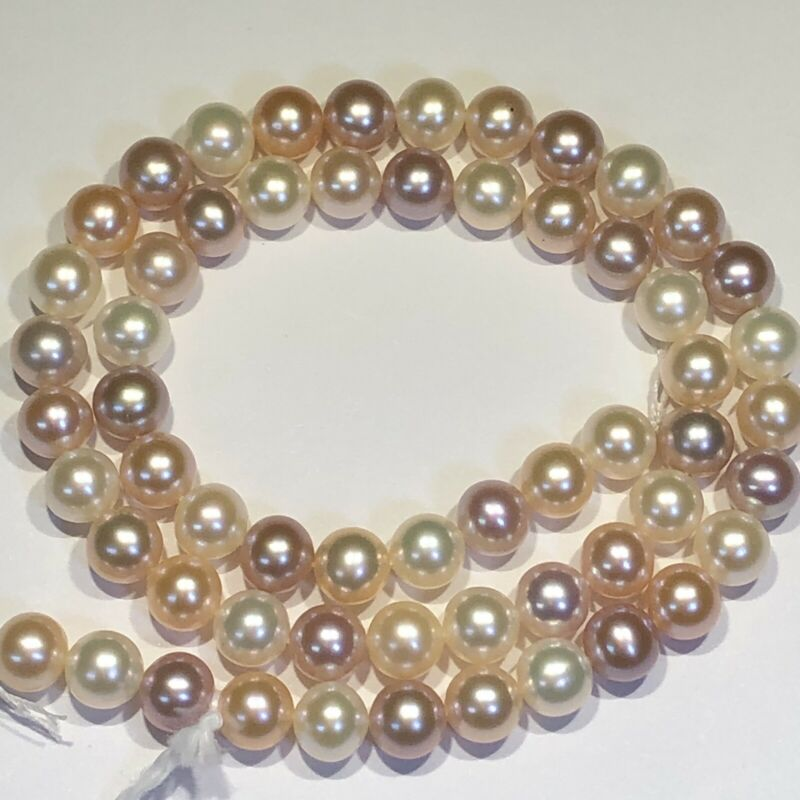 """Natural Color Pearl Strand 7mm Freshwater 16"""" Will Knot To 18"""" Temp Strung Y55"""