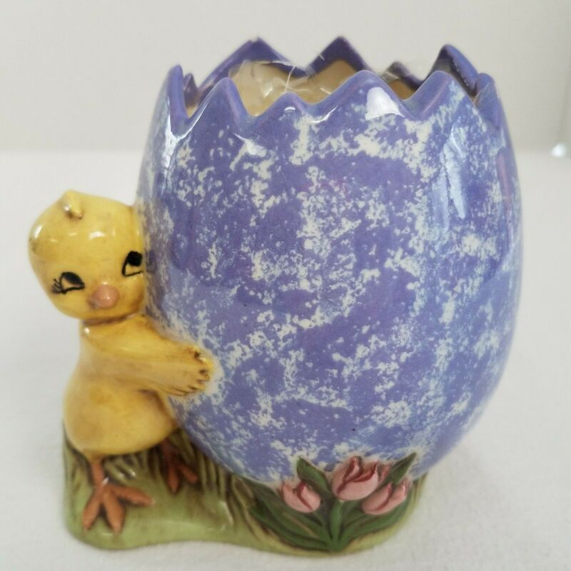 Hand Painted Vintage 1974 Glazed Ceramic Chick Purple Egg Easter Decoration MCM