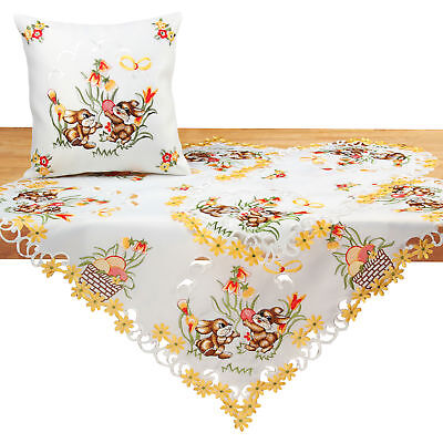Easter Tablecloth Doily Table runner White Bunny Yellow Tuli