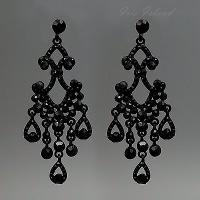 Black Alloy Jet Crystal Rhinestone Chandelier Drop Dangle Earrings 00858 New
