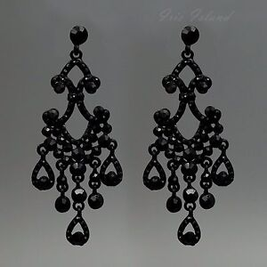 Black Crystal Chandelier Earrings | eBay