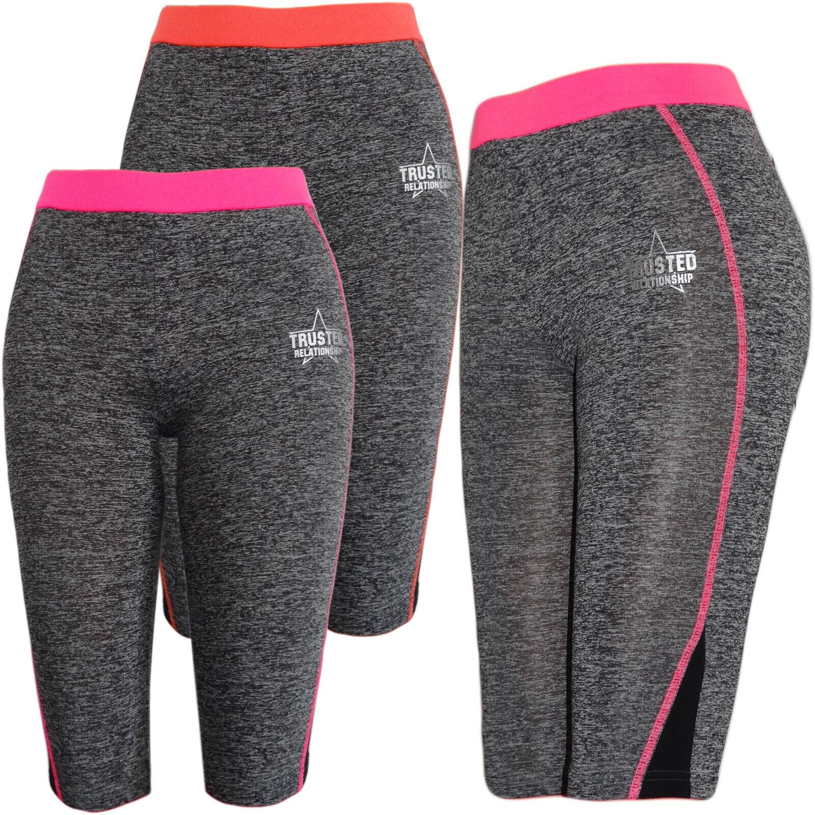 e7d345f394922f Mädchen Kinder Freizeit Capri Leggings Hose Training Leggins Sporthose  Melierte